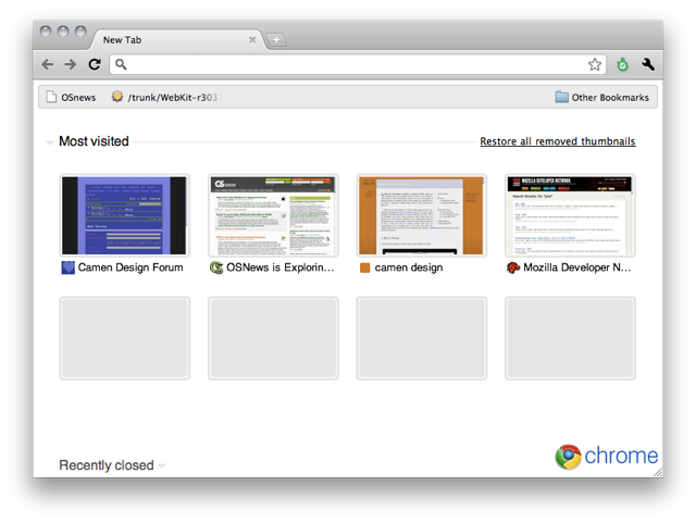 Screenshot of Google Chrome home page with four website tiles shown