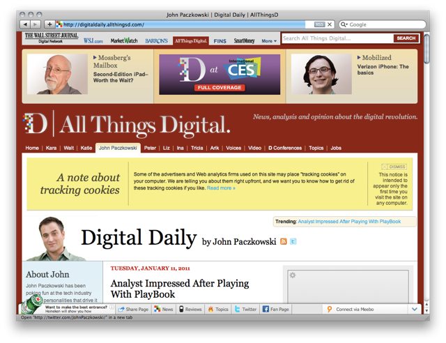 Screenshot of the Digital Daily AllThingsD website
