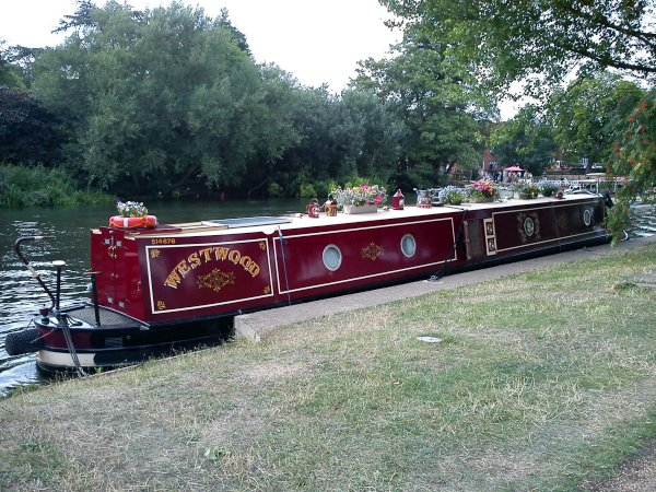 A canal barge at the waterside