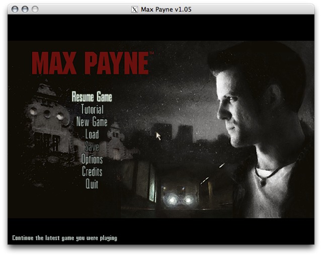 Screenshot of Max Payne title screen