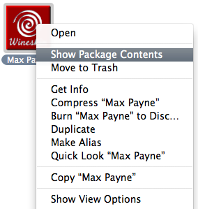 Screenshot of context menu with 'Show Package Contents' selected
