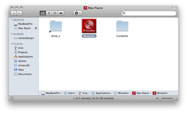 Screenshot of Finder window showing the contents of 'Max Payne.app'