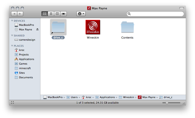 Screenshot of a Finder window showing the contents of 'Max Payne.app' with the 'drive_c' folder selected