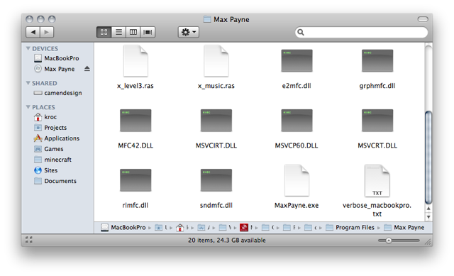 Screenshot of the contents of the 'Program Files/Max Payne' folder