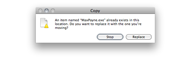 Screenshot of copy dialog asking to replace 'MaxPayne.exe' with a newer version