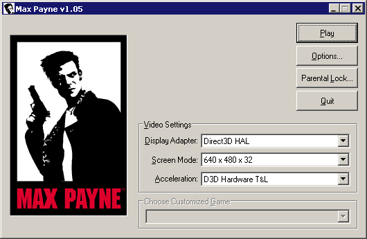Screenshot of Max Payne launcher with options for screen resolution and a 'Play' button
