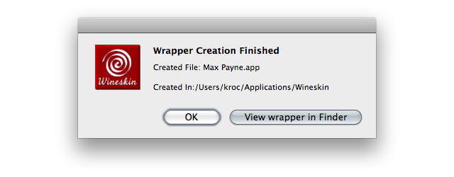 Screenshot of 'Wrapper Creation Finished' window
