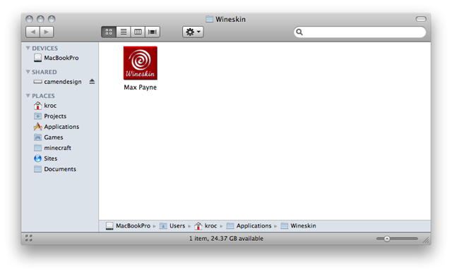 Screenshot of a Finder window showin 'Max Payne.app'