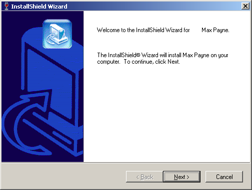 Screenshot of Max Payne installation wizard welcome screen