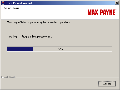 Screenshot of Max Payne installing (25%)