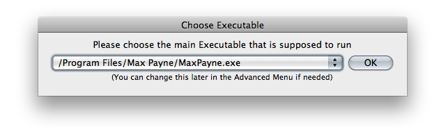 Screenshot of the 'Choose Executable' window