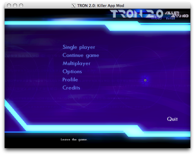 Screenshot of the Tron 2.0 title screen
