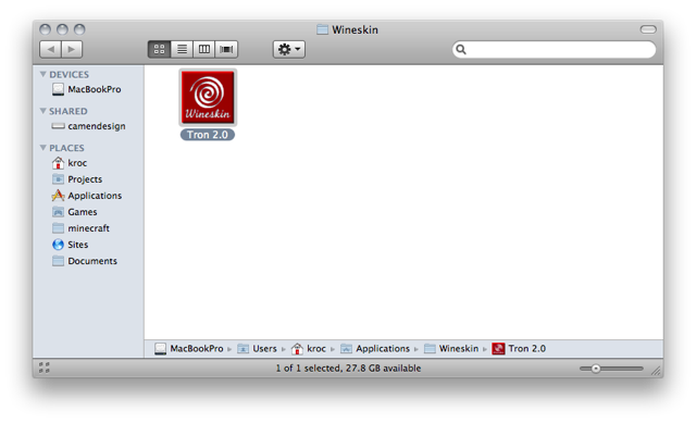 Screenshot of a Finder window showing 'Tron 2.0' app bundle