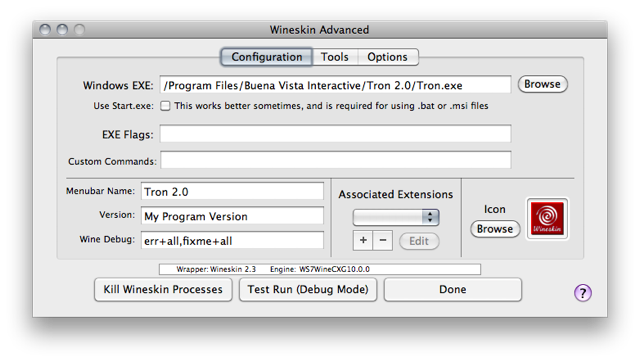Screenshot of 'Wineskin Advanced' window