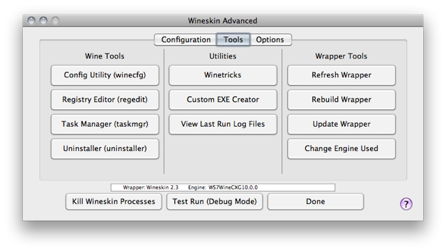 Screenshot of the 'Wineskin Advanced' window with the 'Tools' tab selected
