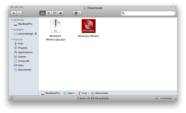 Downloads folder with Wineskin zip file, and the extracted Wineskin app