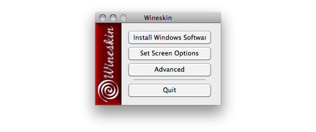 Screenshot of the Wineskin app