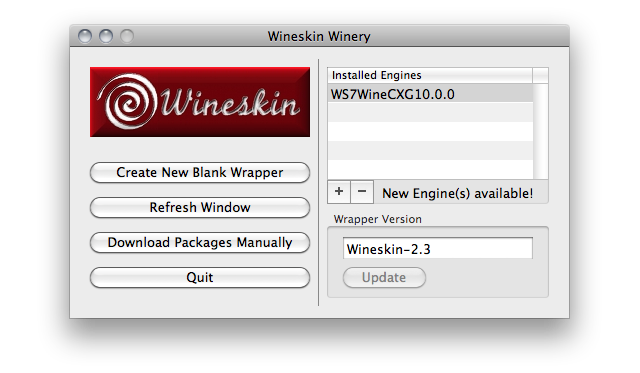 Screenshot of Wineskin Winery window