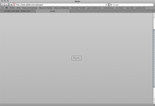 "Adobe's ""open"" government website. A big, blank Flash square."