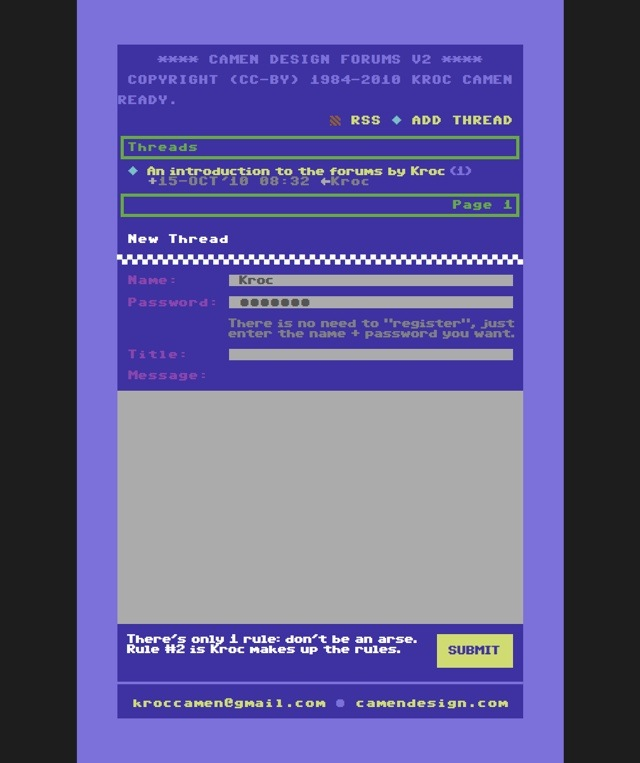 Camen Design forums, in a Commodore 64 theme