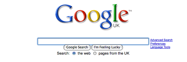 Screenshot of google.com showing the blue focus-ring on the Google search text box