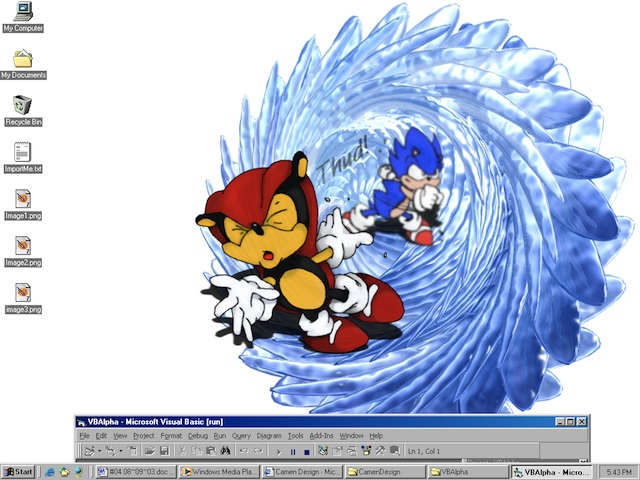 Screenshot of an image that has been programatically drawn directly onto the desktop