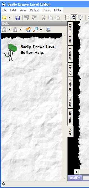 Screenshot of a help pane in Badly Drawn Level Editor