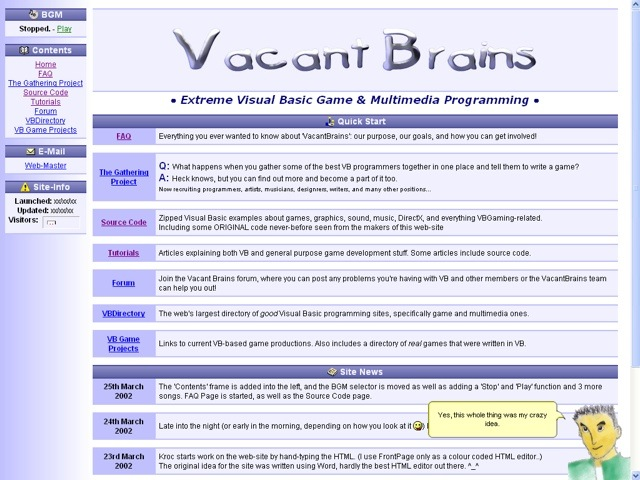 Screenshot of the Vacant Brains website