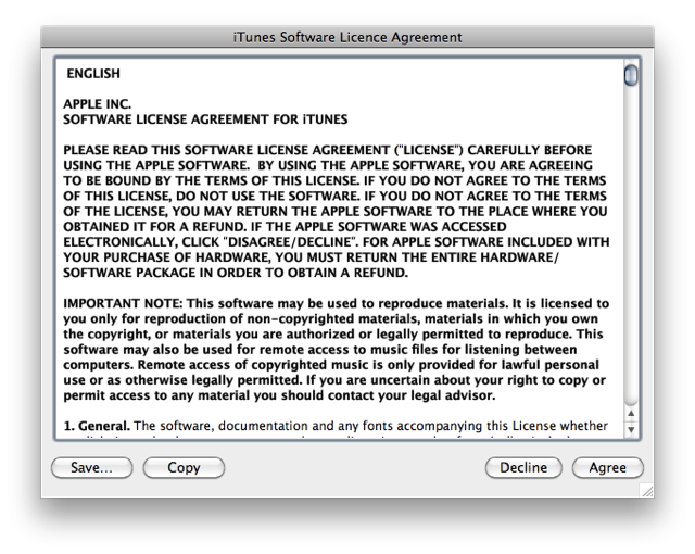 "Screenshot of iTunes EULA with ""agree"" and ""disagree"" buttons"