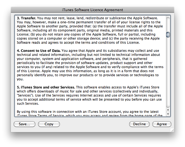 Screenshot of iTunes EULA showing section 4: Consent of Use of Data