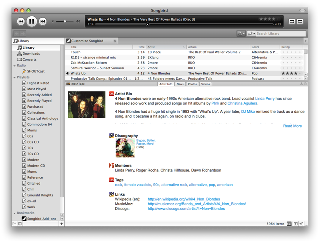 "Screenshot of Songbird's ""mashTape"" pane"