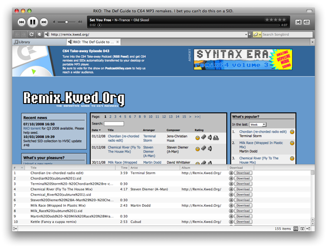 Screenshot of Songbird scraping audio files from remix.kwed.org
