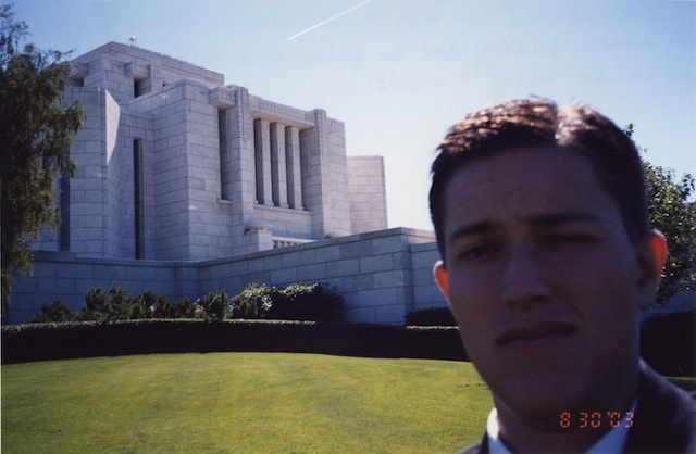 Photo of Tanner in front of the Cardston, Alberta Temple